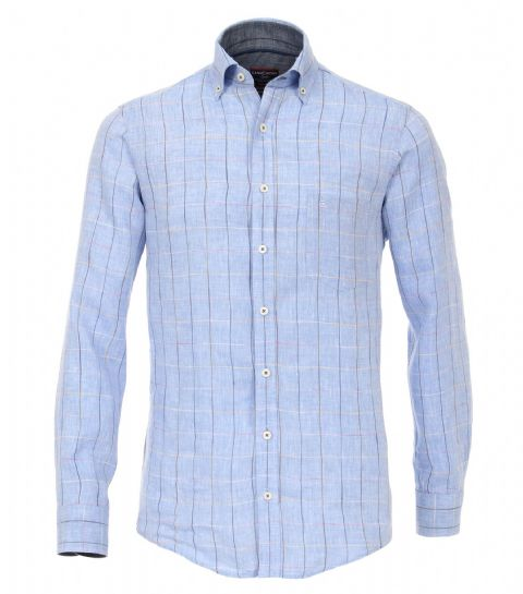 CASAMODA Light Blue  Check 100% Linen Shirt